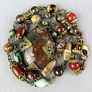 Vintage Polished Stones Necklace w/ Fancy Filigree