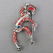 Vintage Bob Mackie Enamel Jester Pin - He Moves