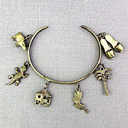Old Sterling Silver Charm Bracelet WWII Philippines Souvenir