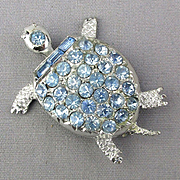 Signed PELL Turtle Pin w/ Blue Crystal Rhinestone Back