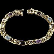 Vintage Gold on Sterling Silver Bracelet w/ Gemstones