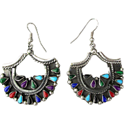 Vintage Mexican Sterling Silver Earrings w/ Petit Point Gems