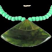 Vintage CADORO Necklace Carved Bakelite w/ Jade Glass Beads