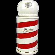 Royal Copley Barber Pole Razor Blade Bank Piggy Coin Bank w/ Label