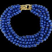 Vintage Kenneth Jay Lane KJL Faux Lapis Lazuli Lucite Necklace 4-Strand Beads