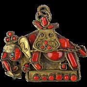 Old Tibetan Nepal Folk Art Elephant Pendant Red Coral