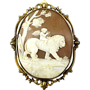 Early Victorian Rare 14K Gold Carved Shell Cameo Cupid on Lion