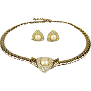 Christian DIOR Faux Gold Pearl Rhinestone Necklace Earrings Set