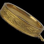 Art Deco Era Gold-Filled Etched Bangle Bracelet Hinged