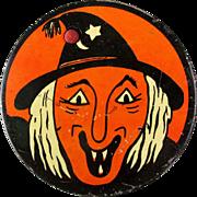 Vintage Kirchhof Halloween Tin Litho Noisemaker Ugly Witch