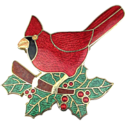 Vintage Fish & Crown Cloisonne Guilloche Enamel Pin Red Cardinal Bird