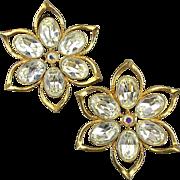 Couture Richard Serbin XL Flower Rhinestone Earrings