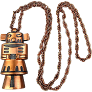 c1940s Bell Trading Post Copper Totem Pole Pendant Necklace Native American
