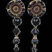 Signed Jet Black Glass Bead Clip Earrings Dangles