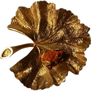 Ledo frog on leaf pin simulated Coral
