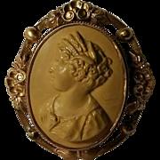 Lava Cameo pin Demeter crown of wheat