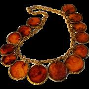 Tortoise shell Bakelite necklace embossed chain