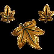 Ciner green rhinestone leaf pin earrings set