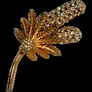 DeNicola pin rhinestone cattails and ferns