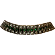 Payco Art Deco sterling bracelet 1926 green colorless stones