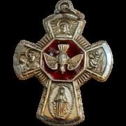 Chapel sterling enamel 4 way cross medal pendant