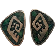 Enrique Ledesma Taxco sterling earrings malachite inlay