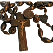 Antique French  rosary carved wood Lourdes pilgrimage