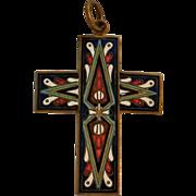 Enamel and brass cross pendant hand made