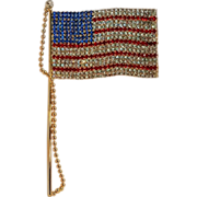 "Rhinestone flag pin 6 7/8"" long"
