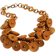 Celluloid necklace wood & brass bead cha cha drops