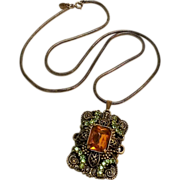 Judy Lee necklace amber glass stone