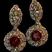 Ciner red rhinestone drop earrings rhodium plate red