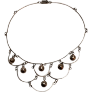 Sterling Mexico festoon bib necklace dangling bead balls AMF