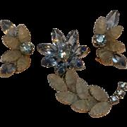 Flower pin earrings set  blue rhinestone crackled satin glass cabochon