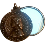 SOLD Joan of Arc antique slide mirror pendant Jehanne d'Arc
