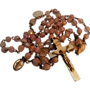 Saphiret glass bead rosary with pilgrimage medals