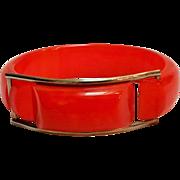 Orange Bakelite chrome buckle hinge bracelet