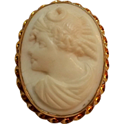 14K Gold Cameo pin white shell