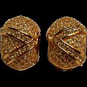 Christian Dior rhinestone clip earrings gold tone