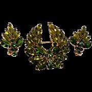 Juliana rhinestone brooch pin earrings set olivine green