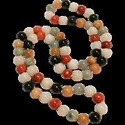 "Jade bead necklace multi color stone 29"" long"