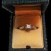 Vintage 14K gold diamond engagement ring 3 stone Princess cut,  baguette