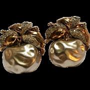 Trifari simulated pearl belly Apple rhinestone fur clips 1938-42