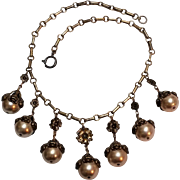 1940's Brass flower and simulated pearl drops necklace floral brass caps