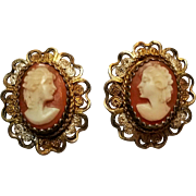 Sterling filigree cameo clip earring gold wash
