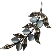 WRE sterling silver glass moonstone pin leaves