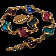 Swarovski swan signed coffee bean crystal bracelet multi color
