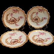 Limoges dessert plates LS&S courting couple floral  gilt