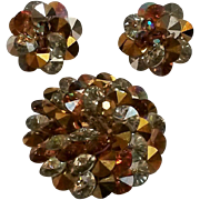 Vendome rivoli crystal pin and earrings set silver and topaz color