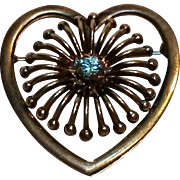 Symmetalic  sterling 14K heart pin aqua blue stone